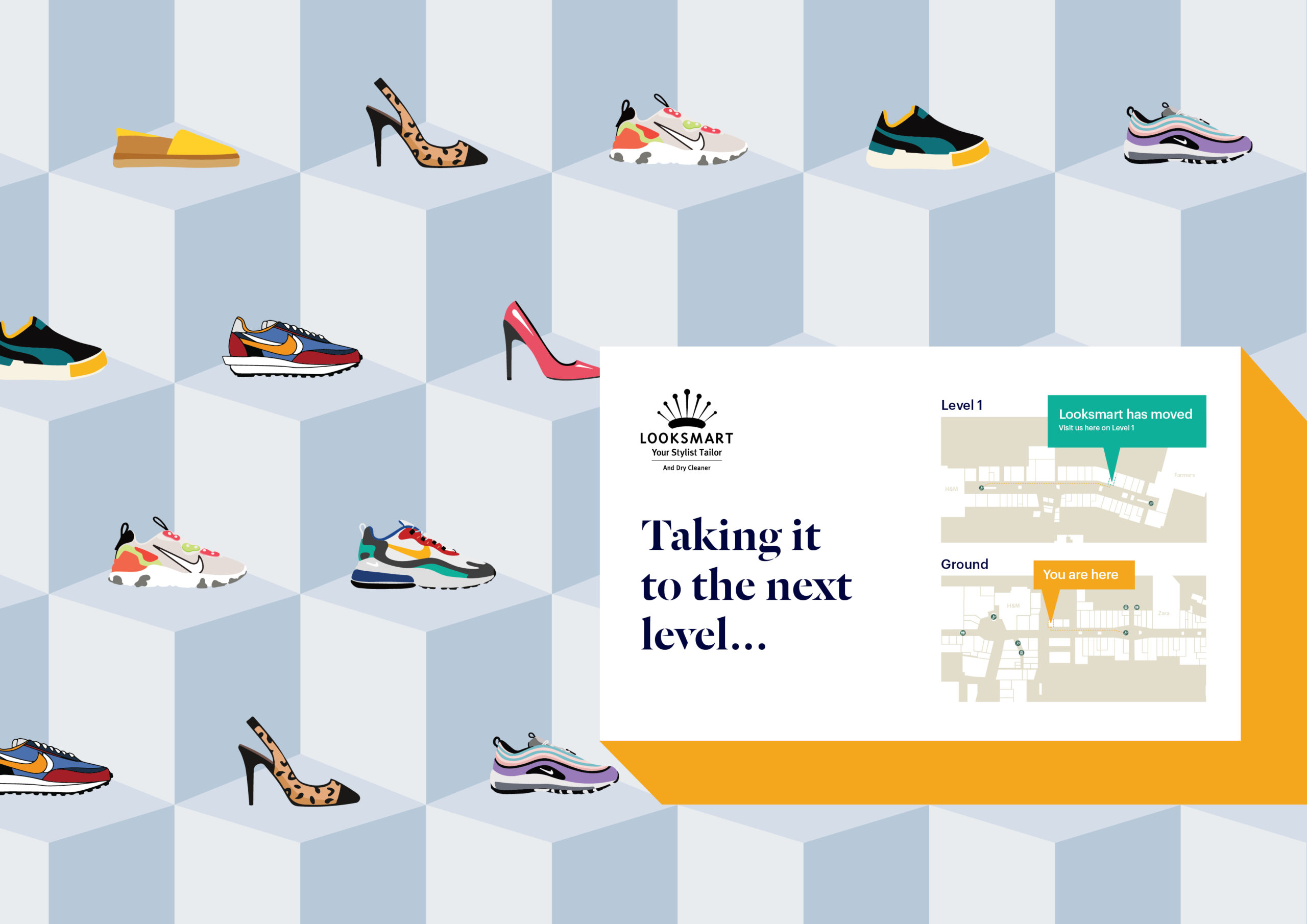 Large scale retail graphics at Sylvia Park Level 1 Launch featuring 3D cubes topped with an array of different shoes