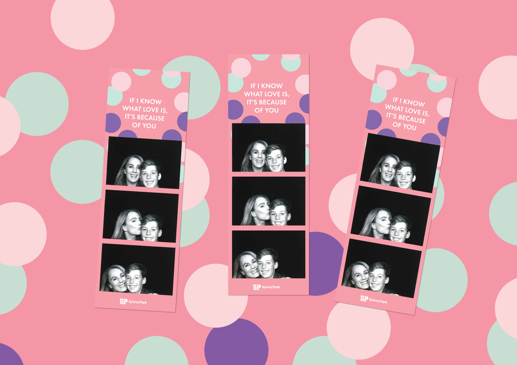 3 cute photo strips showing themed branding and mother and son photos for Sylvia Park Mother's day retail activation