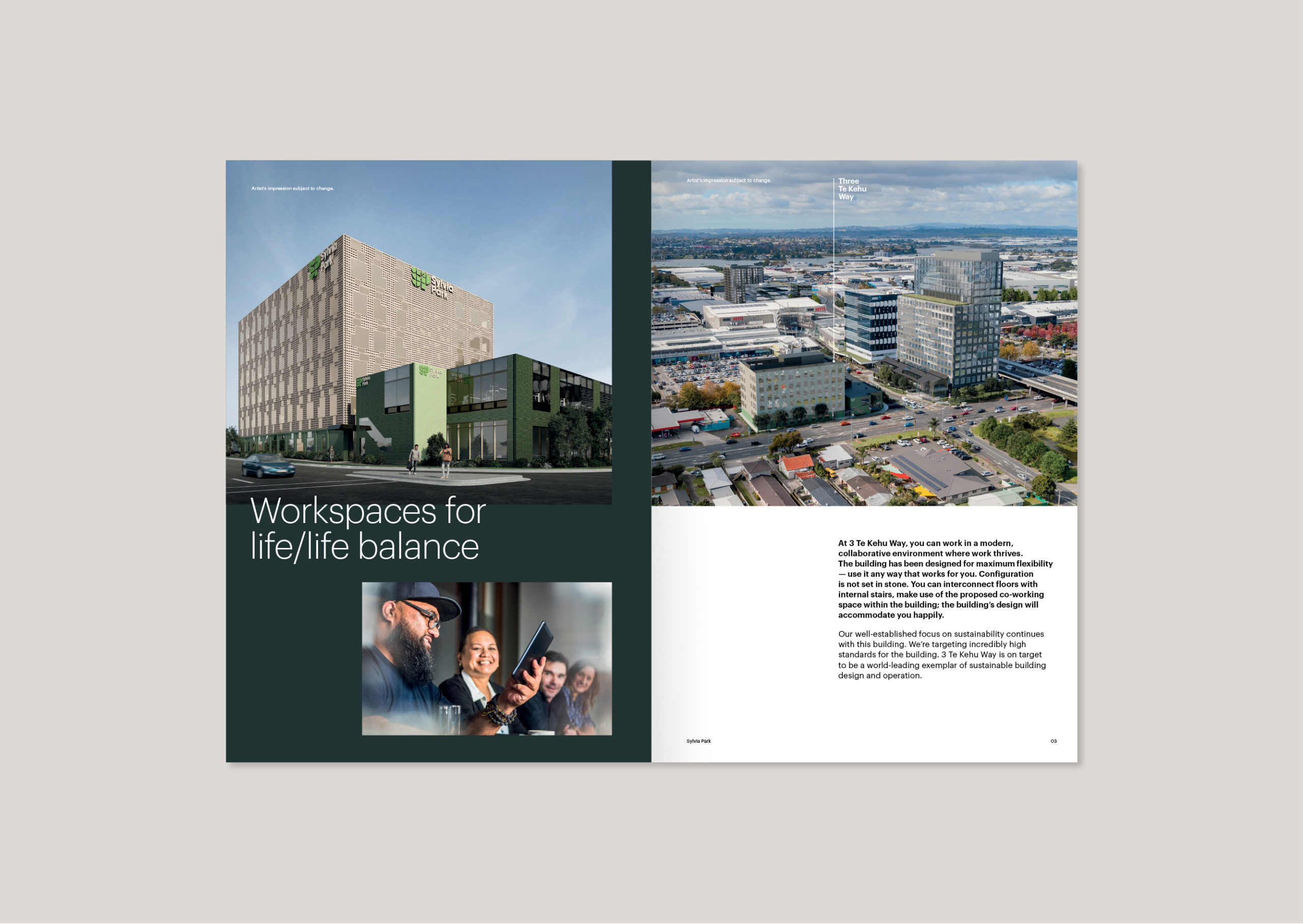 3 Te Kehu Way Commercial Property Development Brochure showing render of completed building in situ from 3/4 angle