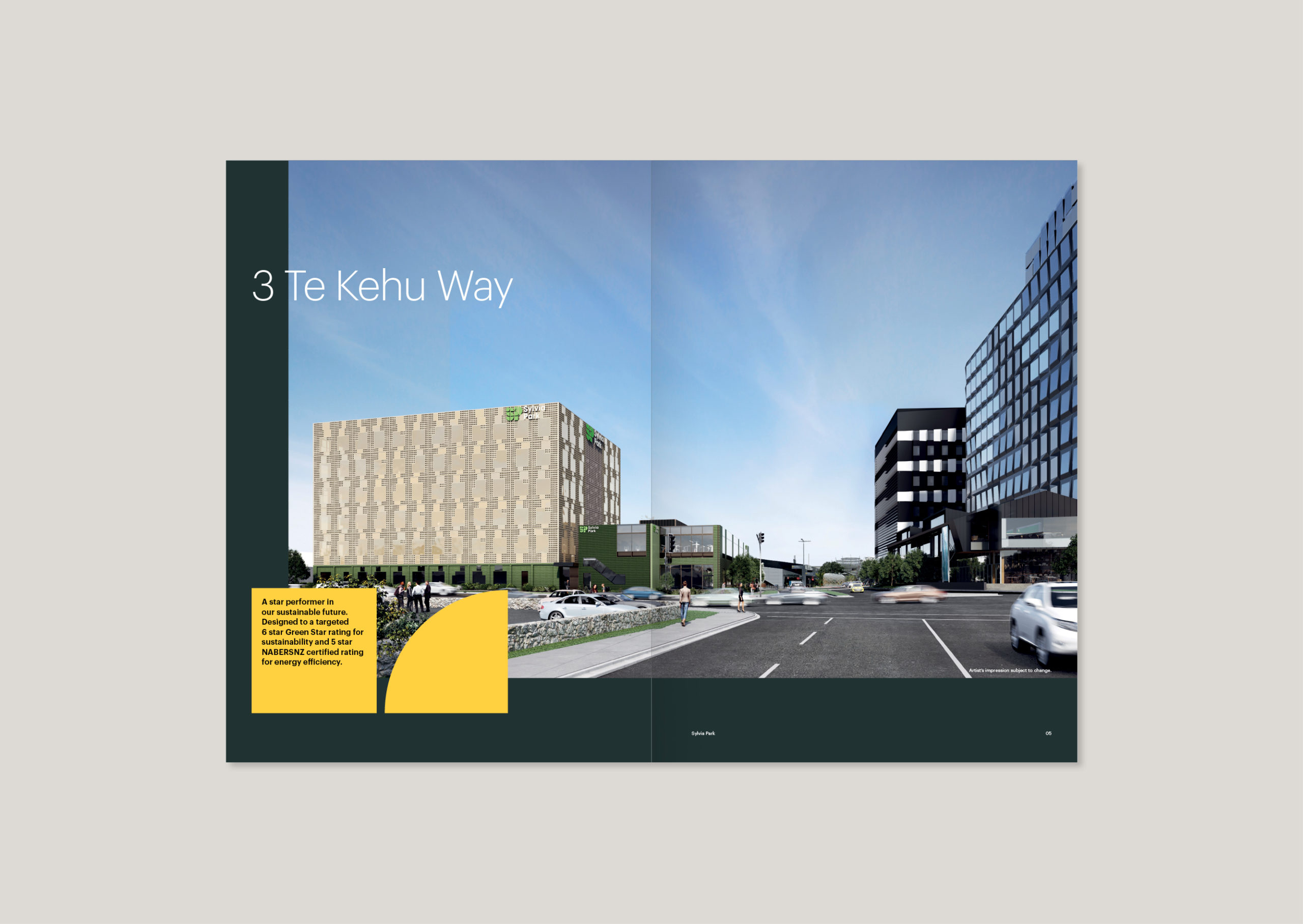 Dramatic double page image showing low street view of 3 Te Kehu Way in situ at Sylvia Park
