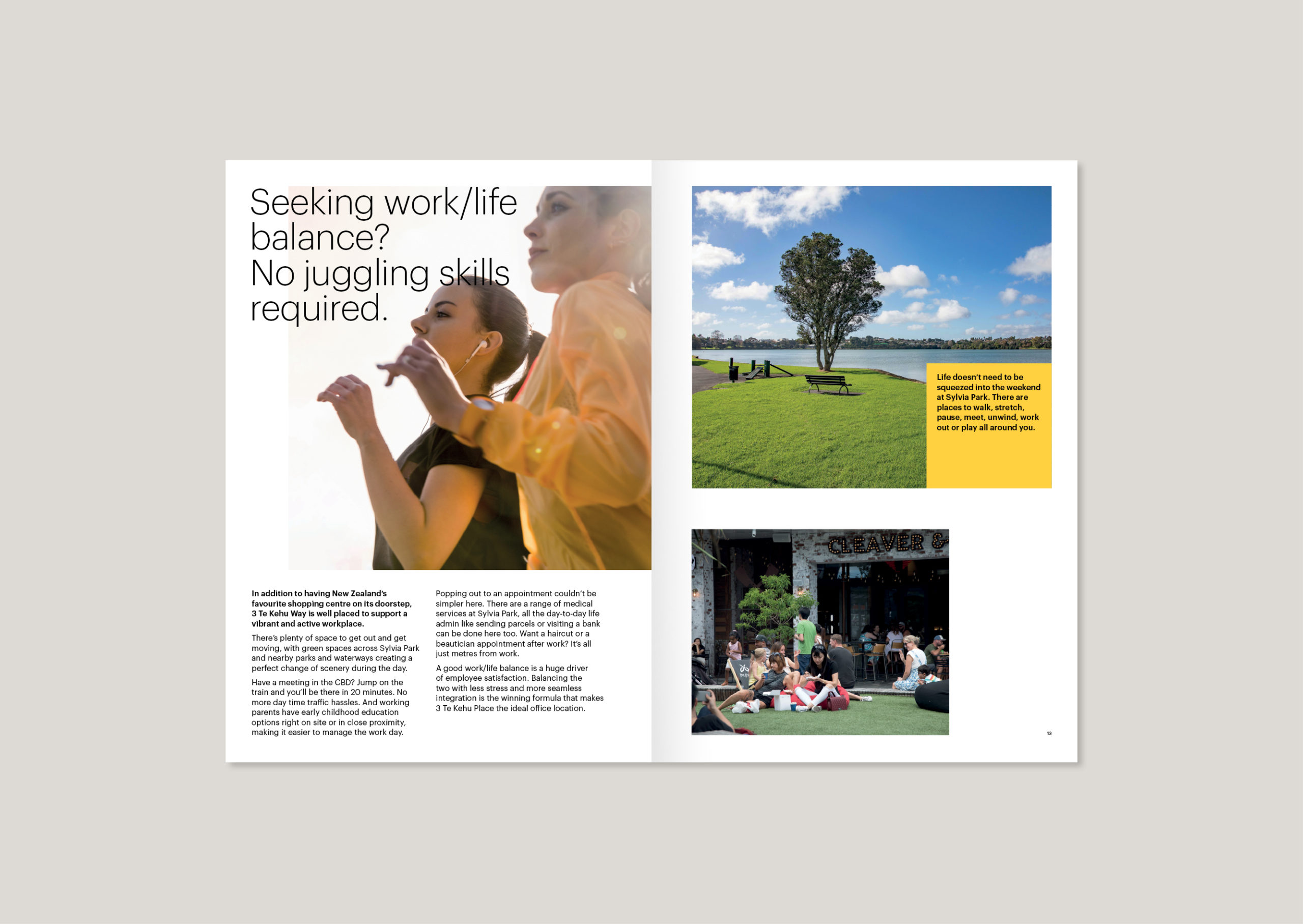 Photographs showing Close up of women jogging in sun, Panmure basin and people sitting outside relaxing at Sylvia Park shine,