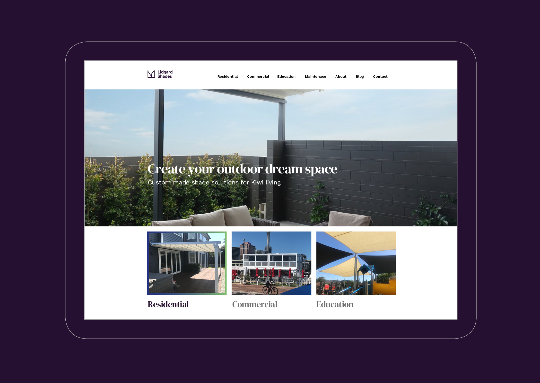 Lidgard Shades Homepage
