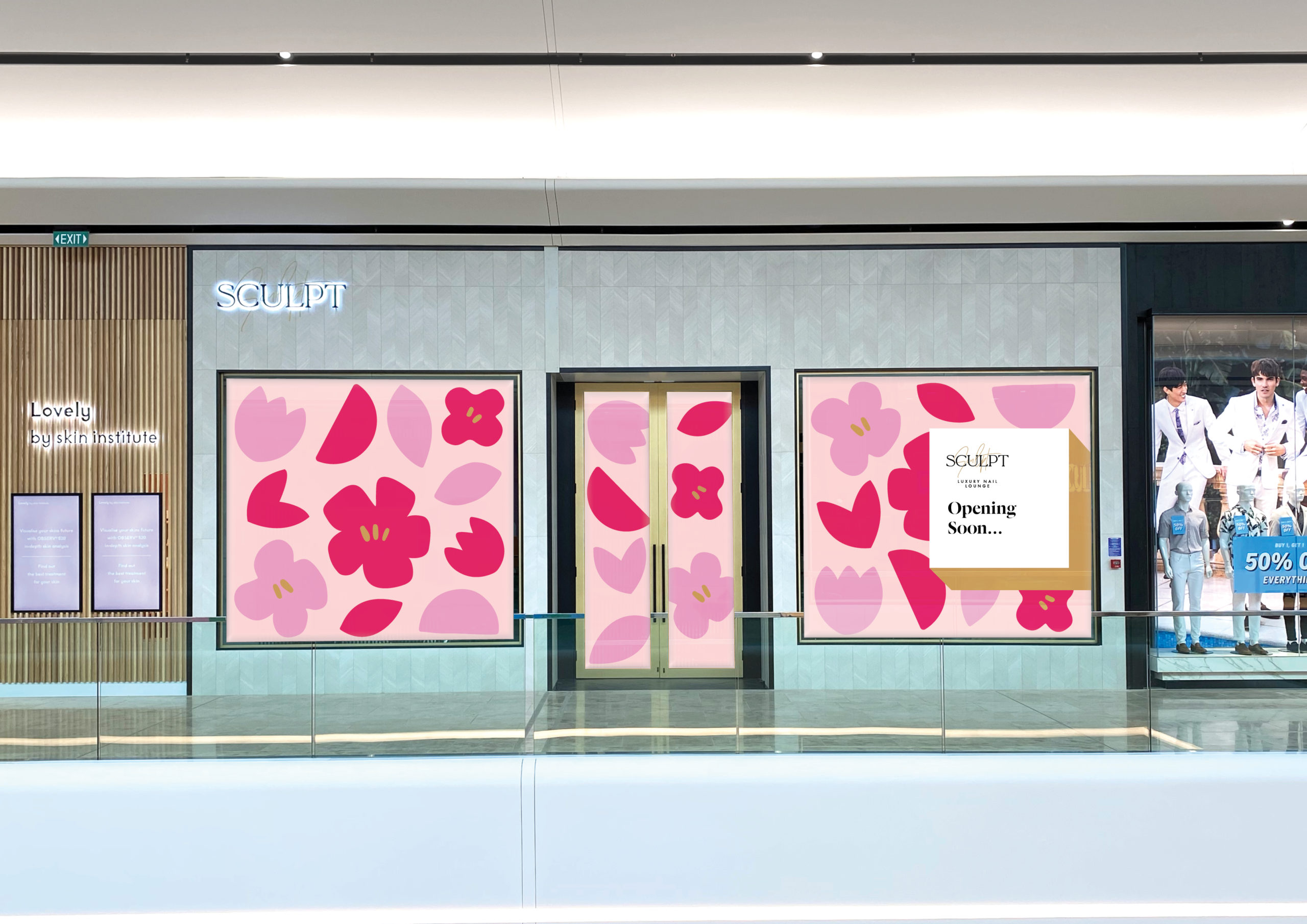 Illustrated Pink and magenta over-sized floral blooms on Store front windows