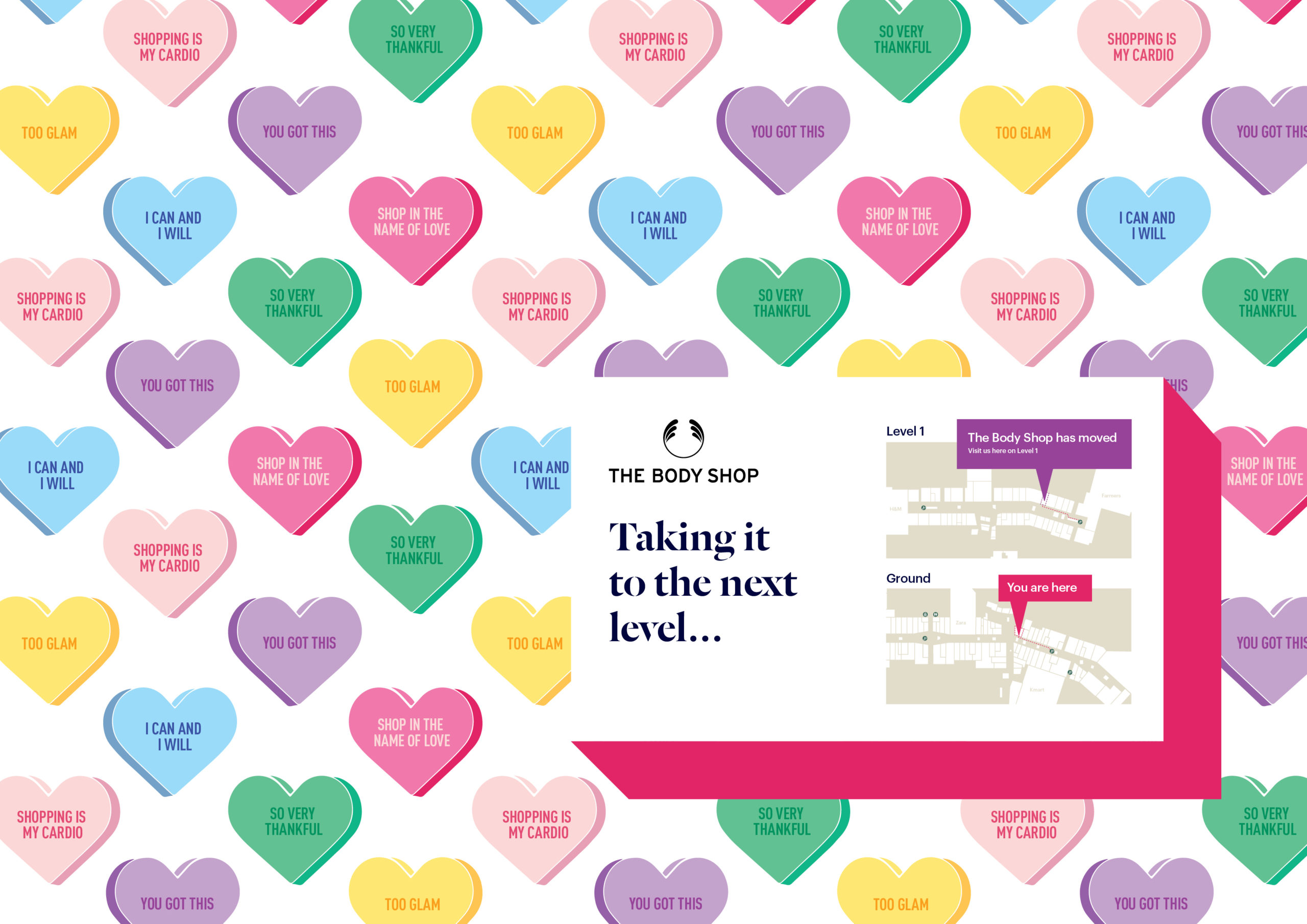 Sherbet coloured candy heart illustrations and directional map wall art